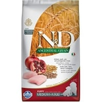 N&D Ancestral Grain Dog Puppy Med&Maxi cu Pui, Ovaz si Rodie, 12 kg