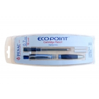 Creion mecanic PENAC EcoPoint, cu cartus si doua rezerve radiera, 0.7mm - corp albastru