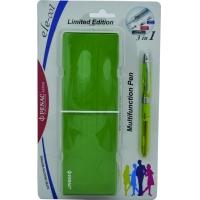 Pix multifunctional cu doua culori / creion mecanic 0.5mm, PENAC ELE 001 + penar cadou, verde