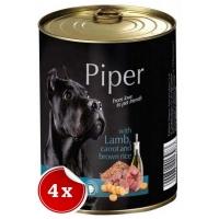 Pachet 4 Conserve Piper Adult cu Carne de Miel, Morcovi si Orez Brun, 800 g