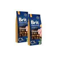 Pachet 2 x Brit Premium by Nature Adult M, 15 kg