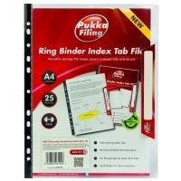 Folie protectie documente A4, cu index, capacitate 25 foi, 5 buc/set, PUKKA - transparent