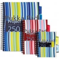 Project Book A6, 125 file 80g/mp, cu spirala dubla, coperti PP, PUKKA Stripes - dictando