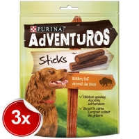 Pachet Purina Adventuros Sticks Bivol 3x120 g