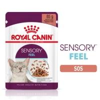 Royal Canin Sensory Feel, plic hrană umedă pisici, stimularea simțului tactil (în sos), 85g
