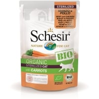Schesir Cat Bio Sterilised cu Vita, Pui si Morcovi, Plic 85 g