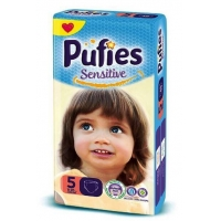 Scutece Pufies Baby Sensitive Junior Giant Pack 5, 11-20 Kg, 62 buc