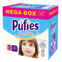 Scutece Pufies Baby Sensitive Junior Mega Box 5, 11-20 Kg, 117 buc