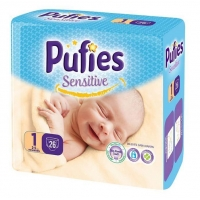Scutece Pufies Baby Sensitive Newborn 1, 2-5 Kg, 26 buc