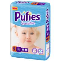 Scutece Pufies Sensitive 6 Extra Large, Maxi Pack, 42 Buc