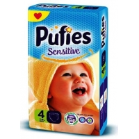 Scutece Pufies Sensitive Maxi Giant Pack 4, 7-14 Kg, 74 buc