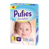 Scutece Pufies Sensitive Midi 3, Maxi Pack, 66 Buc