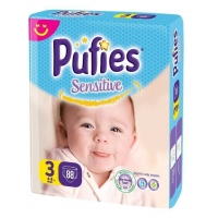 Scutece Pufies Sensitive Midi Giant Pack 3, 4-9 Kg, 88 buc