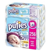 Servetele Umede Pufies Sensitive, 4 x 64 buc