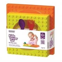 Set Hranire Placematix Pentru Copii, cu Farfurie si Bol, Galben/Orange