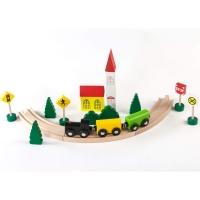 Set Sine si Trenulet cu Accesorii, Lemn,  Momki, 24 Piese