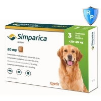 Simparica 80 mg, 20-40 kg, 3 tablete