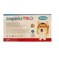 SIMPARICA Trio, comprimate masticabile antiparazitare, câini 10-20kg, 24 mg, 3 comprimate