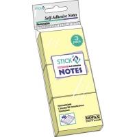 Stick notes 38 x  51 mm, 3 x 100buc/set, HOPAX - galben pastel