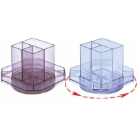 Suport plastic pentru accesorii de birou, rotativ, 7 compartimente, KEJEA - fumuriu