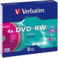 VERBATIM DVD-RW 4X 4,7GB COL SLIM