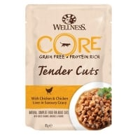 Wellness Core Cat Tender Cuts cu Pui si Ficat, in Sos, 85 g