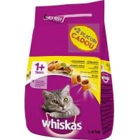Whiskas Adult cu Pui si Ficat, 1.4 Kg + 2 plicuri Cadou