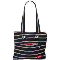 Geanta de Umar Monsters Tote Zip...It, Negru-Fermoar Curcubeu