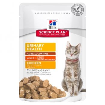Hill's SP Feline Urinary&Hairball cu Pui, Plic, 85 g
