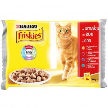 Plic Friskies Multipack Pui, Vita, Miel, Rata, 4 x 100 g