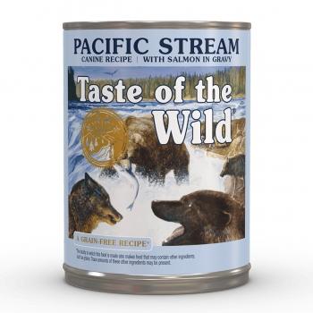 TASTE OF THE WILD Pacific Stream, Somon, pachet economic conservă hrană umedă fără cereale câini, (în sos), 390g x 12