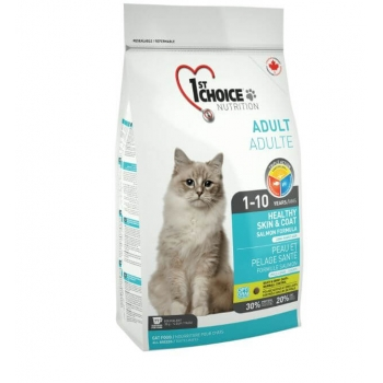 1st Choice Cat Adult Skin And Coat, 2.72 Kg imagine