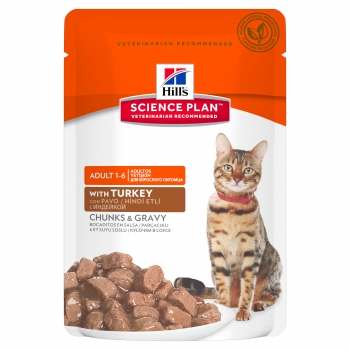Hill's SP Feline Adult Bucatele de Carne in Sos cu Curcan, Plic, 85 g
