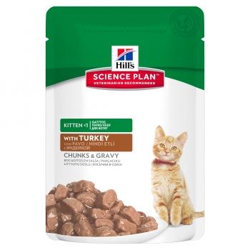 Hill's SP Feline Kitten Bucatele de Carne in Sos cu Curcan 85 g