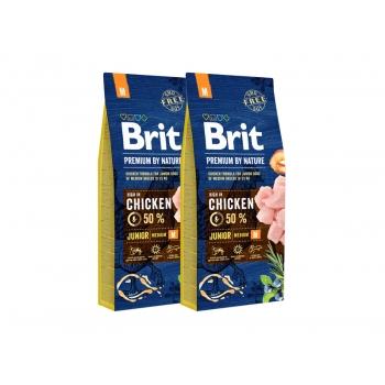 Pachet 2 x Brit Premium by Nature Junior M, 15 kg