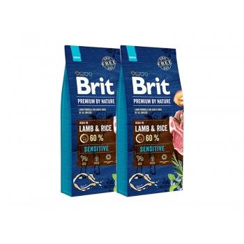 Pachet 2 x Brit Premium by Nature Sensitive Lamb, 15 kg
