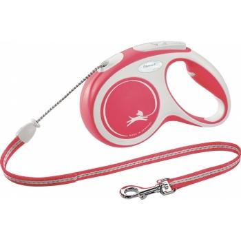 FLEXI New Comfort M, lesă retractabilă câini, 20kg, șnur, 5m, roșu