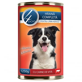 4Dog Conserva cu Carne de Vita, 1250 g imagine