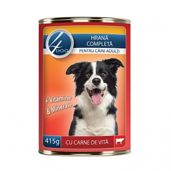 4Dog Conserva cu Carne de Vita, 415 g imagine