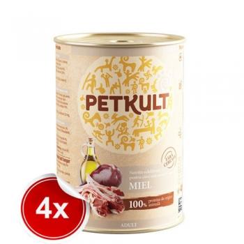 Pachet 4 Conserve Petkult Adult Dog Miel 400g