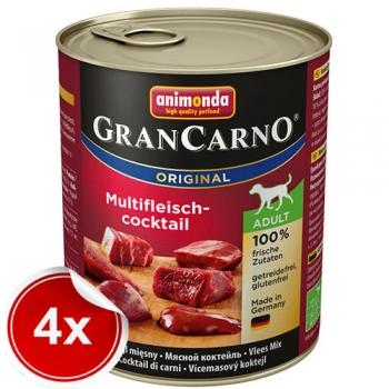 Pachet 4 conserve Grancarno Adult Cocktail Carne 800 g