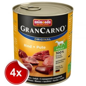Pachet 4 Conserve Grancarno Adult Vita si Curcan 800 g