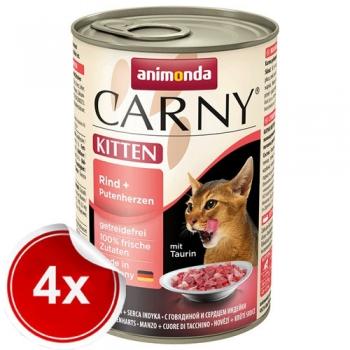 Pachet 4 conserve Carny Kitten Vita si Inimi de Curcan 400 g