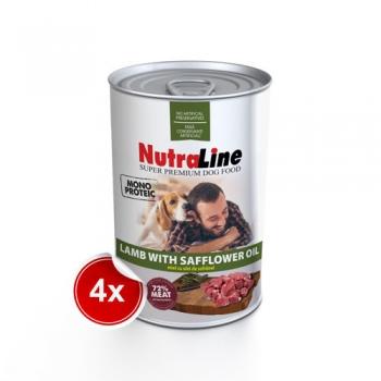 Pachet 4 Conserve Nutraline Dog Adult Monoprotein cu Miel si Ulei de Sofranel, 800 g