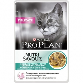 Pro Plan Delicate Nutrisavour, Sos cu peste oceanic, 85 g