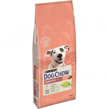 Pachet 2 x Dog Chow Adult Sensitive Somon, 14 kg