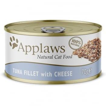 APPLAWS, File Ton și Brânză, conservă hrană umedă pisici, (în supă), 70g