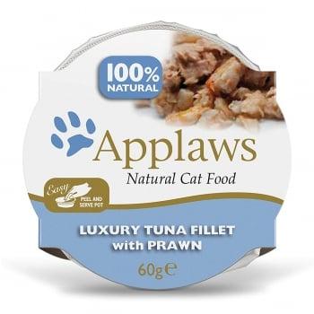 APPLAWS, File Ton și Creveți, bol hrană umedă pisici, (în supă), 60g