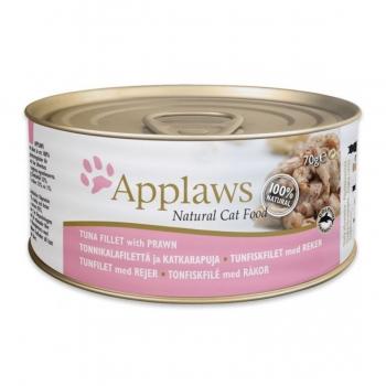 APPLAWS, File Ton și Creveți, pachet economic conservă hrană umedă pisici, (în supă), 70g x 6
