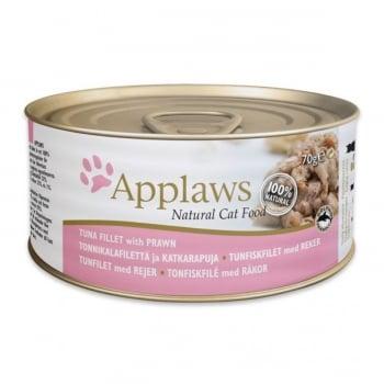 APPLAWS, File Ton și Creveți, conservă hrană umedă pisici, (în supă), 156g